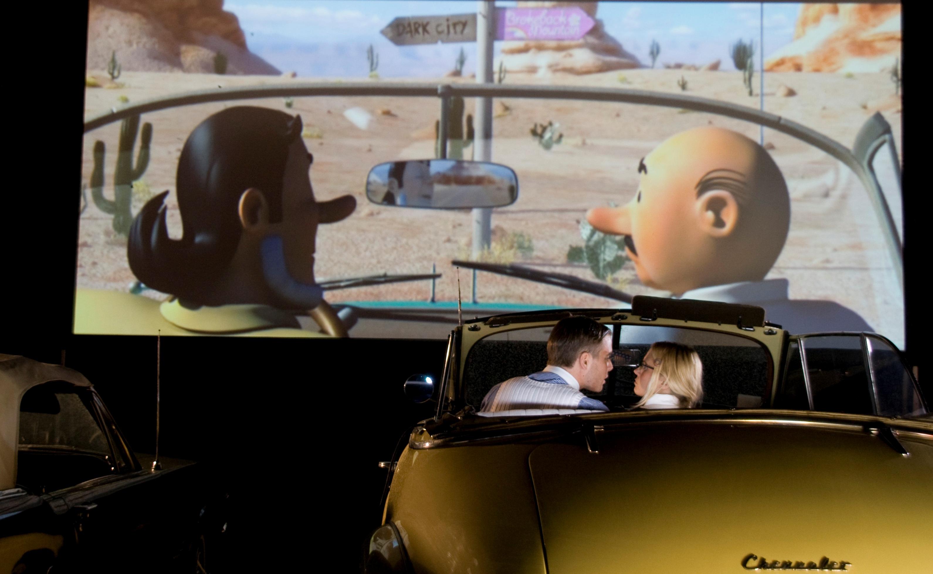 Drive in bioscoop met airscreen of autocinema op megascherm for Drive in bioscoop